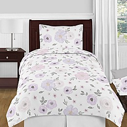 Sweet Jojo Designs® Watercolor Floral Twin Comforter Set in Pink /Grey