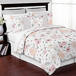 Sweet Jojo Designs® 3-Piece Watercolor Floral King Comforter Set in Pink/Grey