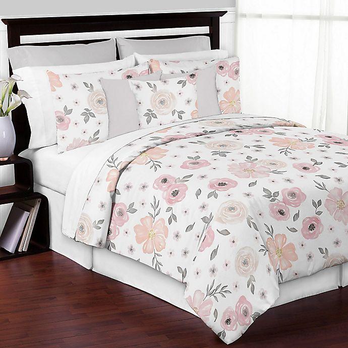 Alternate image 1 for Sweet Jojo Designs® 3-Piece Watercolor Floral King Comforter Set in Pink/Grey