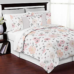 Sweet Jojo Designs® Watercolor Floral 3-Piece King Comforter Set in Pink/Grey