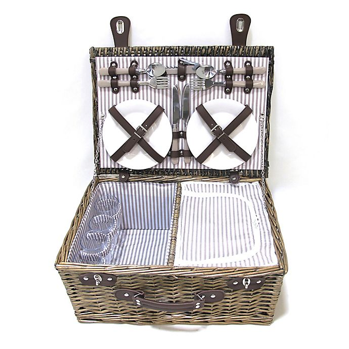 Alternate image 1 for Bee & Willow™ Home Picnic Basket with 4 Place Settings in Grey