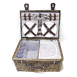 Bee & Willow™ Home Picnic Basket with 4 Place Settings in Grey