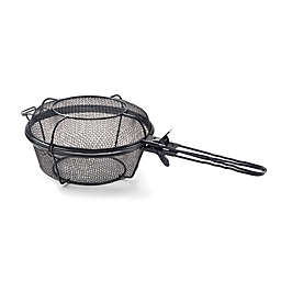 Jumbo Outdoor Steel Grill Basket and Skillet in Black