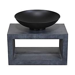 Modern Fire Bowl Rectangular Wood-Burning Console Fire Pit