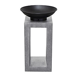 Modern Pedestal Wood Burning Fire Pit Bowl in Light Cement