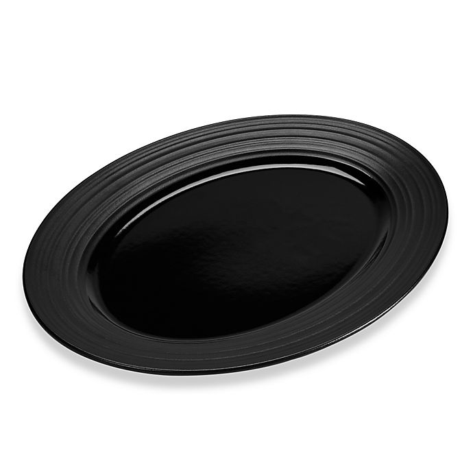 Alternate image 1 for Mikasa® Swirl 14-Inch Oval Platter in Black