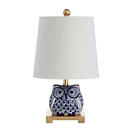 JONATHAN Y Sophocles Mini Ceramic Owl Table Lamp in Blue with Linen Shade