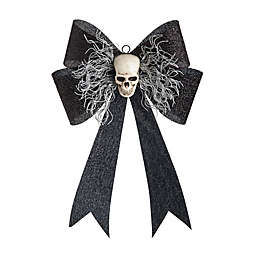 Gallerie II LED Skull Bow Halloween Door Hanger