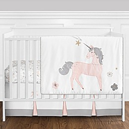 Sweet Jojo Designs® Unicorn 4-Piece Reversible Crib Bedding Set in Pink/Gold