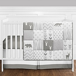 Sweet Jojo Designs® Woodsy 4-Piece Crib Bedding Set in White/Grey