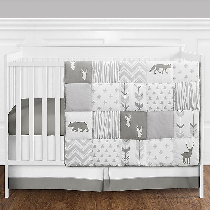 Alternate image 1 for Sweet Jojo Designs® Woodsy 4-Piece Crib Bedding Set in White/Grey
