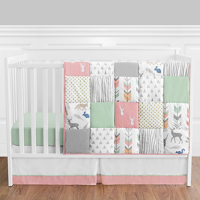 Alternate image 1 for Sweet Jojo Designs® Woodsy 4-Piece Crib Bedding Set in Mint/Coral