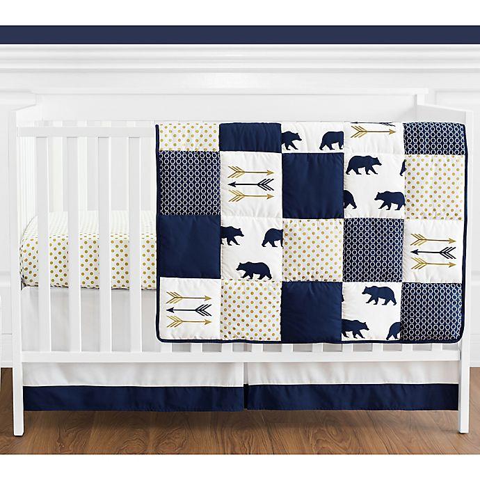 Alternate image 1 for Sweet Jojo Designs® Big Bear 4-Piece Reversible Crib Bedding Set in Blue/Gold