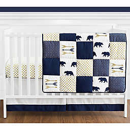 Sweet Jojo Designs® Big Bear 4-Piece Reversible Crib Bedding Set in Blue/Gold