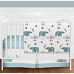 Sweet Jojo Designs® Bear Mountain 4-Piece Crib Bedding Set in Blue/Black