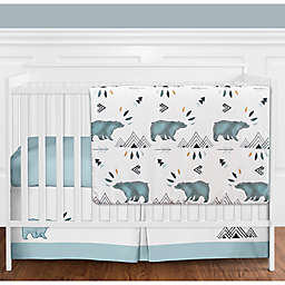Sweet Jojo Designs® Bear Mountain 4-Piece Crib Bedding Set in Blue/Black