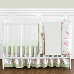 Sweet Jojo Designs® Riley's Roses 4-Piece Reversible Crib Bedding Set in Pink/Green