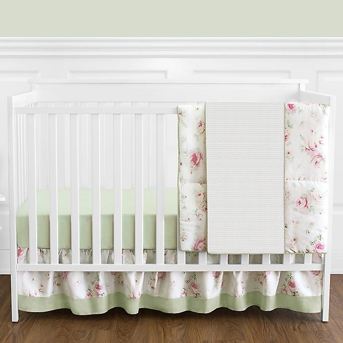 Alternate image 1 for Sweet Jojo Designs® Riley's Roses 4-Piece Reversible Crib Bedding Set in Pink/Green