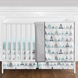 Sweet Jojo Designs® Mountains 4-Piece Reversible Crib Bedding Set in Aqua/Grey