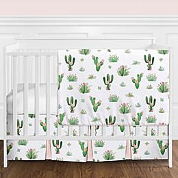 Sweet Jojo Designs® Cactus Floral 4-Piece Crib Bedding Set in Blush/Green