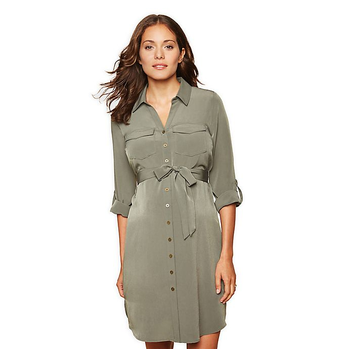Alternate image 1 for Motherhood Maternity® Button Down Dress in Olive