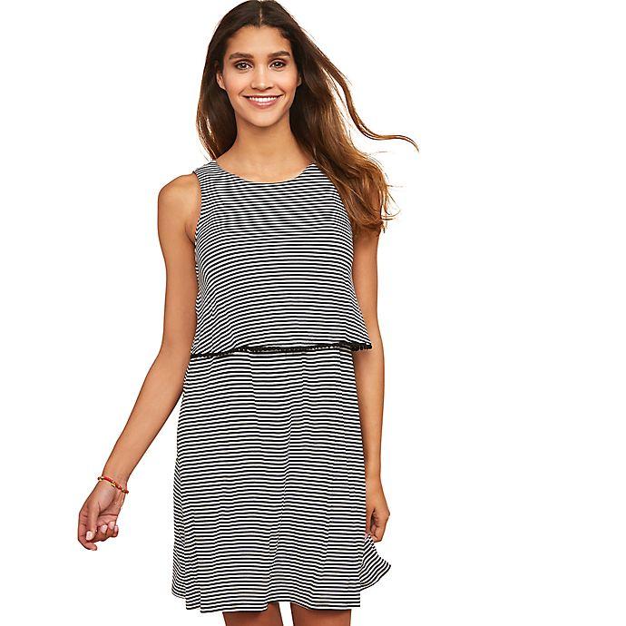 Alternate image 1 for Motherhood Maternity® Lift Up Tiered Nursing Dress in Black/White Stripe