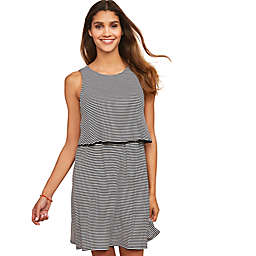 Motherhood Maternity® Lift Up Tiered Nursing Dress in Black/White Stripe