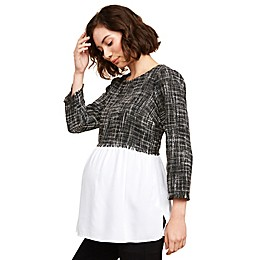 Motherhood Maternity® Tweed A-Line Maternity Top in Black/White