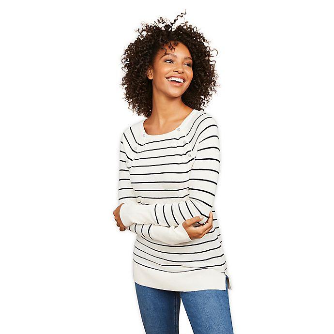 Alternate image 1 for Motherhood Maternity® Snap Down Stripe Nursing Sweater