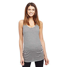 Motherhood Maternity® X-Small Side Ruched Stripe Maternity Tank Top in Grey/Black