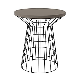 Southern Enterprises Cydriana Round Outdoor Accent Table in Black/Grey