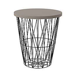 Southern Enterprises Ralina Round Outdoor Accent Table in Black/Grey