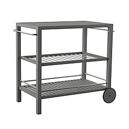 Southern Enterprises Bajarno 3-Tier Outdoor Bar Cart in Grey Wash