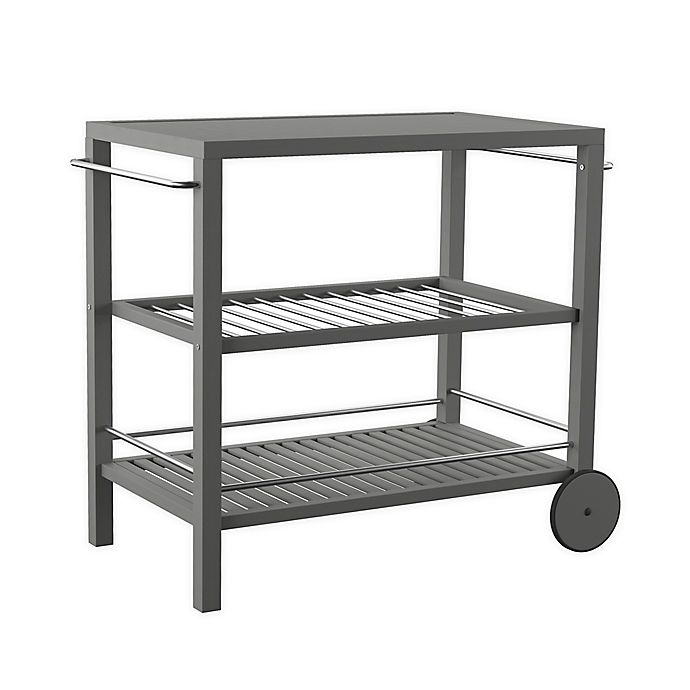 Alternate image 1 for Southern Enterprises Bajarno 3-Tier Outdoor Bar Cart in Grey Wash