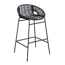 Southern Enterprises Caltaro Faux Rattan Outdoor Bar Stools in Black (Set of 2)
