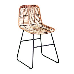 Southern Enterprises Regalto Faux Rattan Outdoor Chairs in Natural/Black (Set of 2)