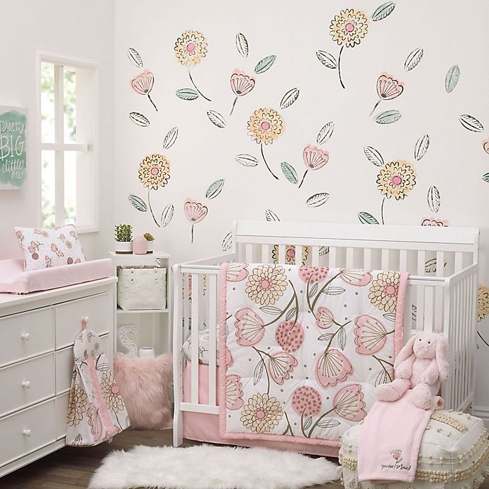 Alternate image 1 for NoJo® Beautiful Floral 8-Piece Crib Bedding Set in Pink