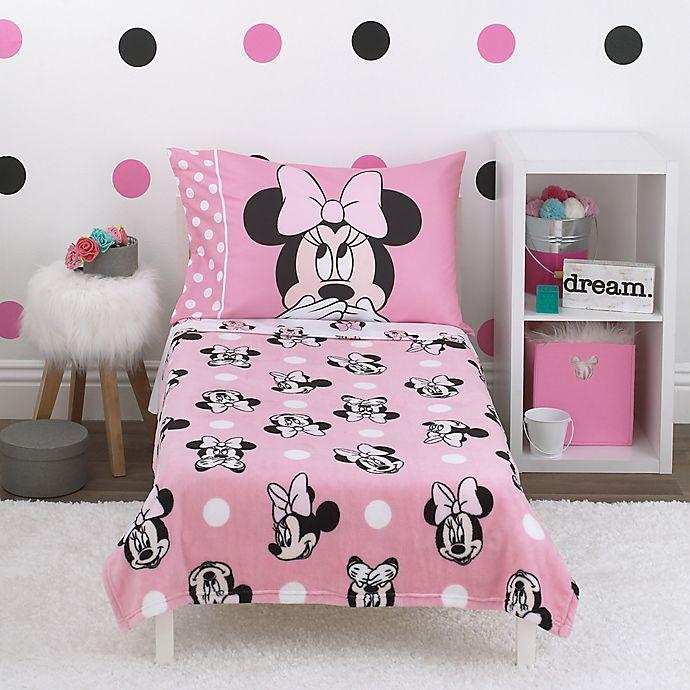 Disney® Blushing Minnie Mouse 4-Piece Toddler Bedding Set in Pink