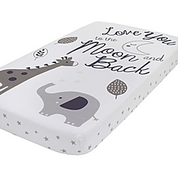NoJo® Love You To The Moon Photo Op Fitted Crib Sheet in Grey/Navy