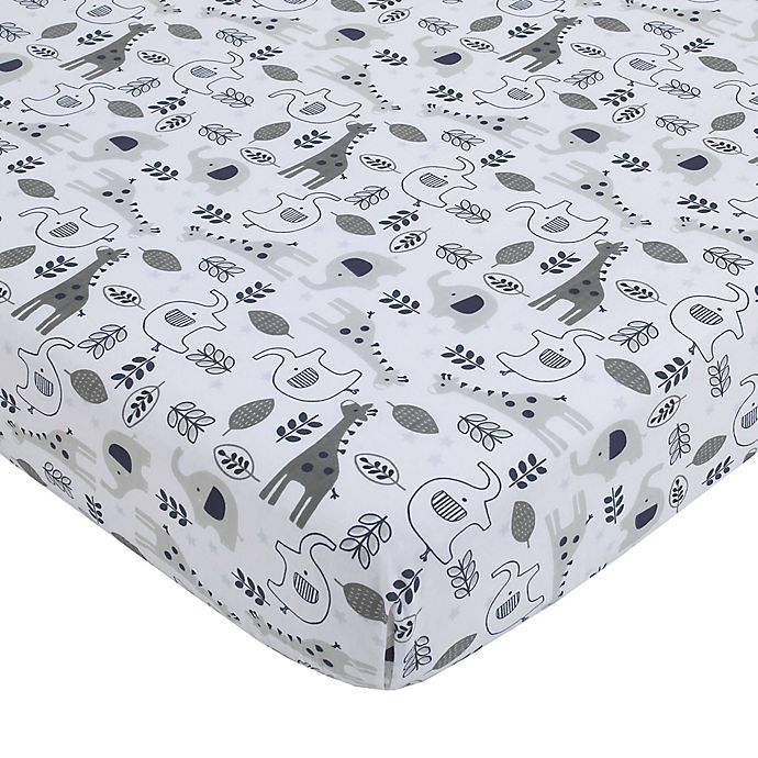 Alternate image 1 for NoJo® Love You To The Moon Fitted Crib Sheet in Grey