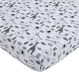 NoJo® Love You To The Moon Fitted Crib Sheet in Grey