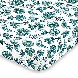 Nojo® Basics Palm Leaf Fitted Mini Crib Sheet