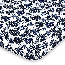 NoJo Palm Leaf Fitted Crib Sheet in Navy