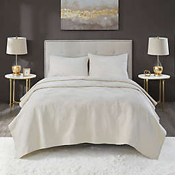 Lennox Velvet 3-Piece King Quilt Set in Ivory