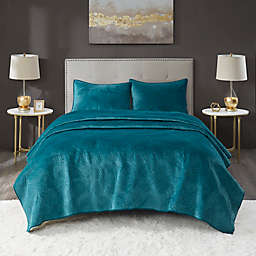 Lennox Velvet 3-Piece Full/Queen Quilt Set in Emarald
