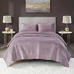Lennox Velvet King 3-Piece Quilt Set in Lavender