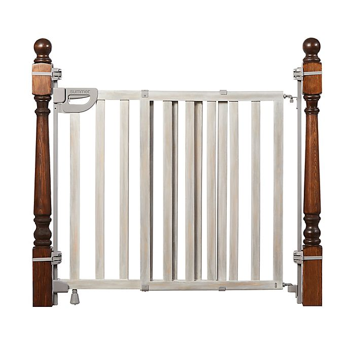 Alternate image 1 for Summer™ Wood Banister and Stair Safety Gate in Gray