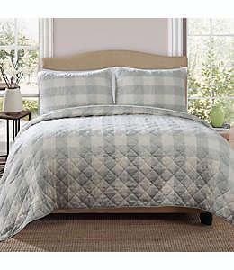 Set de colcha king reversible Bee & Willow™ Home con diseño a cuadros en azul spa