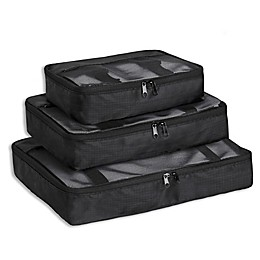 Brookstone® Pack-It™ Packing Cubes with Compression Fit in Black (Set of 3)