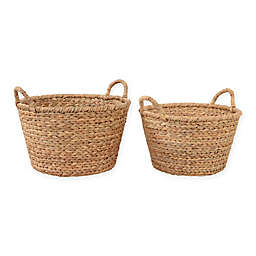 Water Hyacinth Baskets with Handles in Natural (Set of 2)